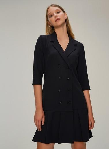 NGSTYLE Çift Düğmeli Ceket Elbise Siyah